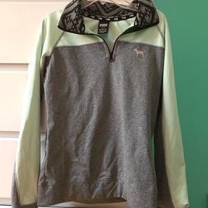 mint green and gray quarter zip